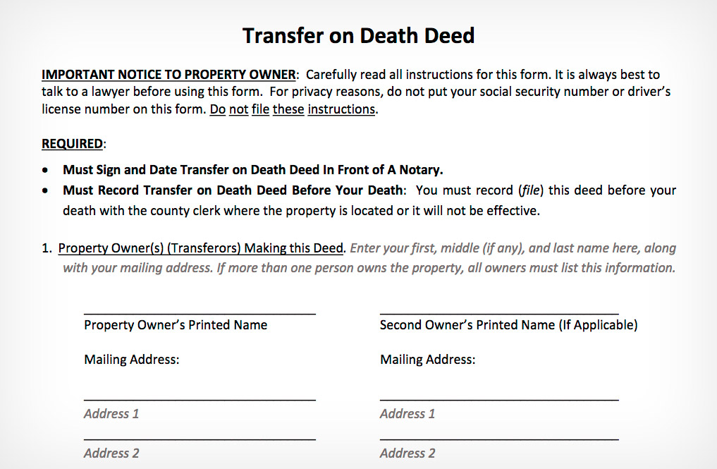 Transfer on Death Deed Provides Tremendous Benefit for Low-Income ...
